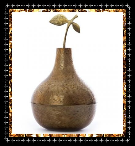 Vintage brass pear pot, unusual decorative surface pattern, a rare find from Kingdom of Razz