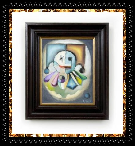 Surreal clown painting, original artwork, bespoke framed £495 from eclectic homeware store Kingdom of Razz