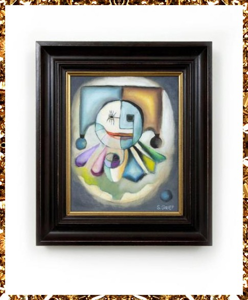 Unique clown painting £495, original artwork, bespoke framed from eclectic homeware store Kingdom of Razz