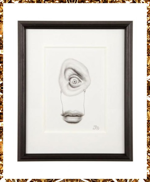 Surreal eye and mouth pencil drawing, an original one-off work of art from Kingdom of Razz