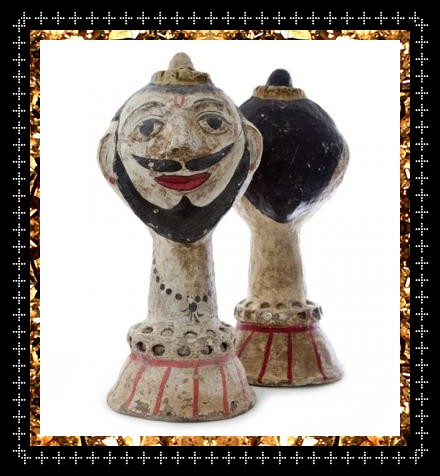 Vintage paper mache busts £225, handcrafted Indian heads from decorative homeware store Kingdom of Razz