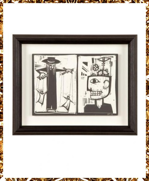 original scratchboard artwork, floated and bespoke framed. Surreal art and quirky decorative objects from Kingdom of Razz