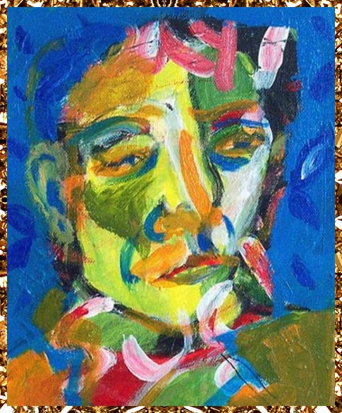 Original Abstract Painting, surreal portrait. Another cool affordable art work from Kingdom of Razz