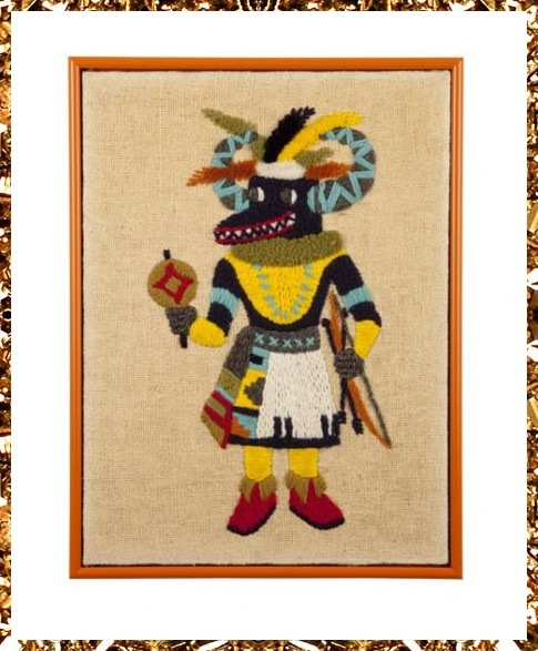 A unique hand woven vintage artwork. Multi-coloured woven kachina art, a total one-off from Kingdom of Razz.