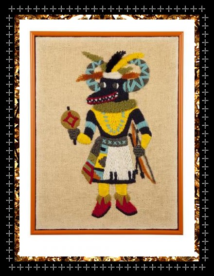 A unique hand woven vintage artwork. Multi-coloured woven kachina art from Kingdom of Razz.